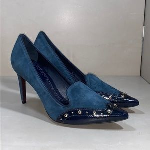 Gorgeous Tory Burch Blue Suede Heels Size 6.5